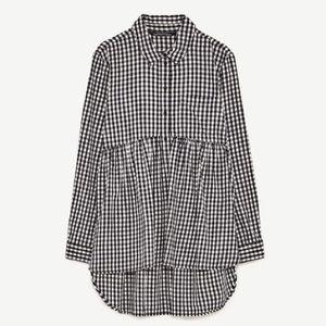 ZARA | oversized gingham plaid tunic blouse top
